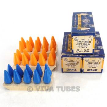NOS NIB Lot of 30 GE Orange & Blue Christmas Tree L amps C-6 Bulbs 110-125V