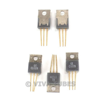 Vintage Lot of 5 GE Model C122B Semiconductor Transistors