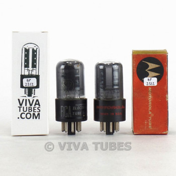Matched Pair RCA USA 6SL7GT Black Round Center Plate Smoked Vacuum Tubes 80%