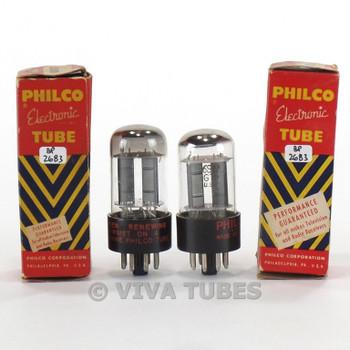 True NOS NIB Matched Pair Philco USA 6SN7GTB Black T Plate Top O Get Tubes
