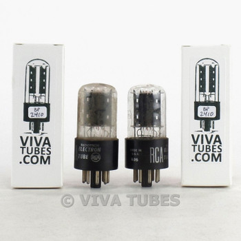 Tests NOS Date Matched Pair RCA USA 6SN7GT Flat Black Plate Vacuum Tubes