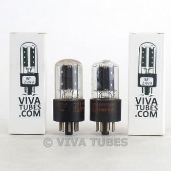 Tests NOS Matched Pair RCA USA 6SN7GTB Flat Black Plate Vacuum Tubes USA