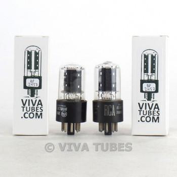 Tests NOS Matched Pair RCA USA 6SN7GTB Flat Black Plate Vacuum Tubes