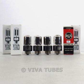 Tests NOS Matched Quad (4) RCA USA 6SN7GTB Flat Black Plate Vacuum Tubes