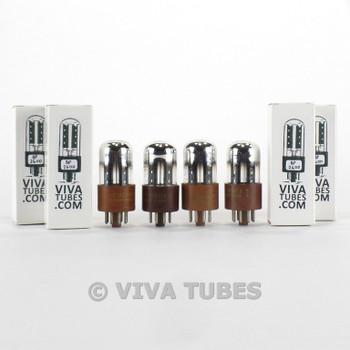 Tests NOS Matched Quad (4) Sylvania USN-CHS-6SN7WGTA Blk P Chrome Brown B Tubes