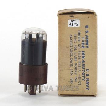 Tests NOS VTG Tung-Sol USA JAN-6SU7GTY Round Black Plate Smoked Brown B Tube