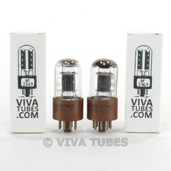 Tests NOS Matched Pair Tung-Sol JAN-CTL-6188/6SU7WGT Black Plate 3 Mic BB Tubes