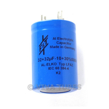 New F&T Germany Dual Section Radial 32uF + 32 uF 500V Electrolytic Can Capacitor
