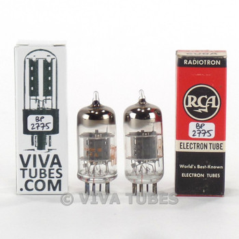 Tests NOS Matched Pair RCA USA 6U8A [6GH8] Black Plate Fat D Get Vacuum Tubes