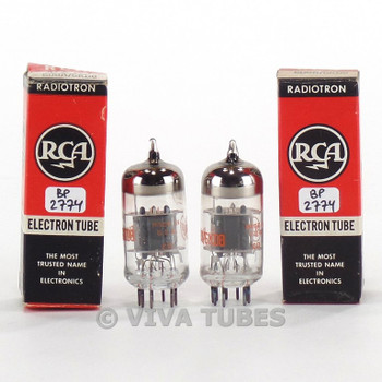 True NOS NIB Matched Pair RCA USA 6U8A/6KD8 Grey/Black Plate O Get Vacuum Tubes