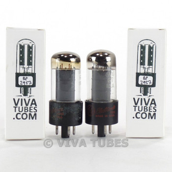 Tests NOS Matched Pair GE USA 6V6GT Grey Plate O Get Rattle Vacuum Tubes 100+%