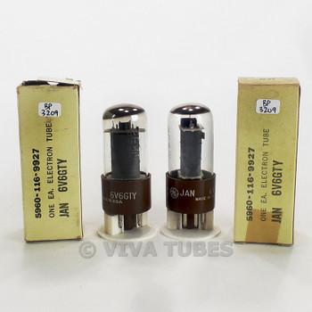 True NOS NIB Matched Pair GE USA JAN-6V6GTY Grey Plate O Get Brown Base Tubes