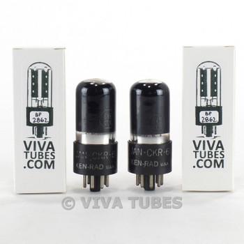 Tests NOS Matched Pair Ken-Rad USA JAN-CKR-6V6GT/VT-107A Black Pl Smoked Tubes