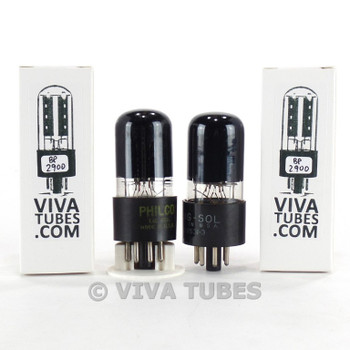 Tests NOS Matched Pair Tung-Sol Vintage USA 6V6GT Black Plate Cracked Base Tubes