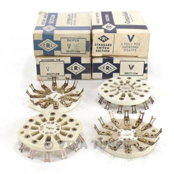 NOS NIB Vintage Lot of 4 Centralab Ceramic Rotary Switch Wafers 4 POL 2 POS