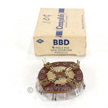NOS NIB Vintage Centralab Section BBD Rotary Switch Wafer 4 POL 3 POS