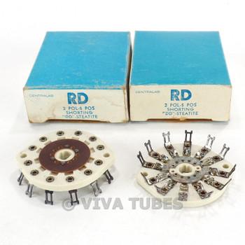 NOS NIB Vintage Lot of 2 Centralab Ceramic Rotary Switch Wafers 2 POL 5 POS