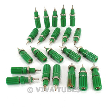 Vintage Lot of 22 Heavy Duty Green Speaker/Output Screw Terminals