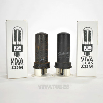 Tests NOS Matched Pair GE USA 6V6 Metal Rust Vacuum Tubes 100+%
