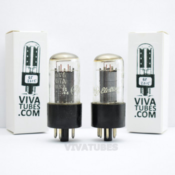 Tests NOS Date Matched Pair GE USA 6V6GTA Grey Plate Top O Get Vacuum Tubes