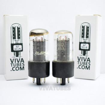 Tests NOS Matched Pair GE USA 6V6GTA Grey Box Plate Top O Get Vacuum Tubes 100+%