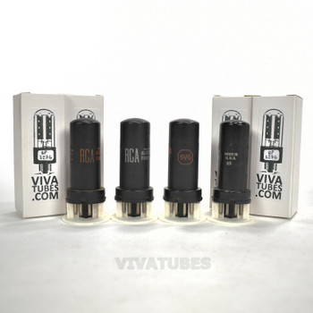 Tests NOS Matched Quad (4) RCA USA 6V6 Metal Rust Vacuum Tubes 100+%
