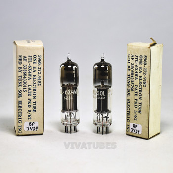 True NOS NIB Matched Pair Vintage Tung-Sol US JTL-6X4WA Silver/Black Plate Tubes