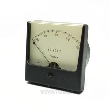 "Vintage Simpson 21440 Square AC Volt Panel Meter 0-150 VAC Range 3"" Voltmeter"