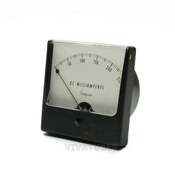 "Vint. Simpson Square DC Volt Panel Meter 0-250 mA VDC Range 3.25"" Ammeter"