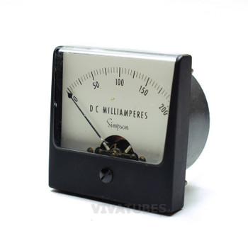 "Vintage Simpson Square DC Volt Panel Meter 0-200 mA VDC Range 2 1/2"" Ammeter"
