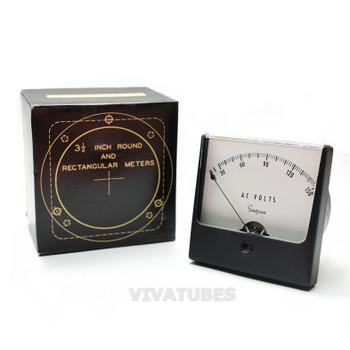 """NOS NIB Simpson 72572 Square AC Volt Panel Meter 0-150 VAC Range 3"""" Voltmeter"""