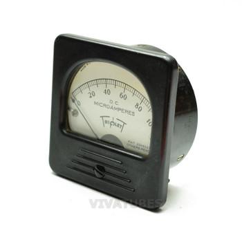 "Vintage Triplett Square DC Panel Meter 0-100 uA Range 3"" Microamperes Ammeter"