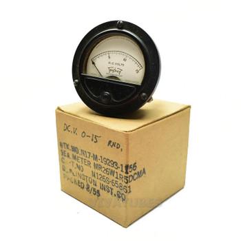 "NOS NIB Triplett 221-T Round DC Volt Panel Meter 0-15 VDC 2 1/2"" Ammeter"