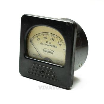 "Vintage Triplett 327A Square DC Panel Meter 0-250 mA VDC 3"" Ammeter"