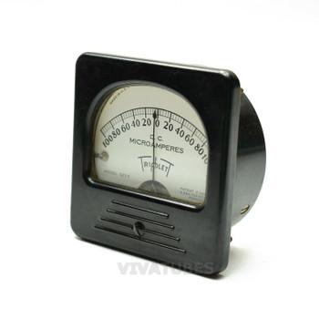 "Vintage Triplett DC Panel Meter 100-0-100 uA Microamperes Range 3"" Ammeter"