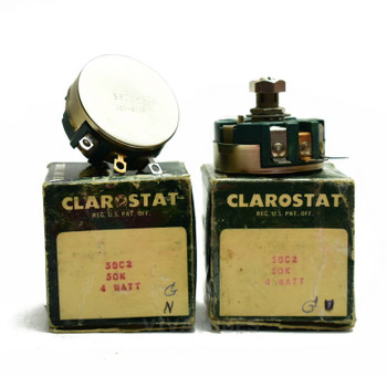 Lot of 2X. NOS NIB Clarostat 58C2 Short Shaft Potentiometer WIREWOUND 50K ohm