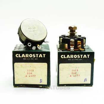 Lot of 2X. NOS NIB Clarostat 58C2 Short Shaft Potentiometer WIREWOUND 300K ohm