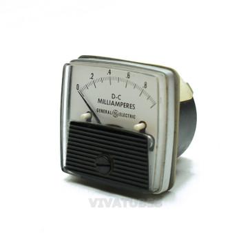"""Vintage G.E. Square DC Panel Meter 0-1 Ma Range 1 1/2""""Miliamperes Ammeter"""