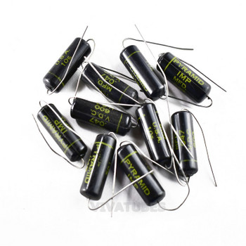 Lot of 10X. Vintage Pyramid 'IMP' Axial Oil Capacitor .047uF 600V Black Beauty