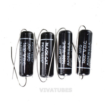 Lot of 4X. Vintage Black Cat 'Black Beauty' Axial Oil Capacitor .047 uF @ 600V