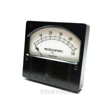 "Vint. Weston Rectangle DC Microamperes Volt Panel Meter 0-50 uA Range 4 1/4"""