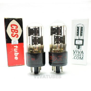 Tests NOS Matched Pair CBS Hytron US 6X5GT Black Plate 3 Mica Tubes