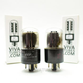 Tests NOS Matched Pair GE USA 6X5GT Black X Plate [] Get Vacuum Tubes