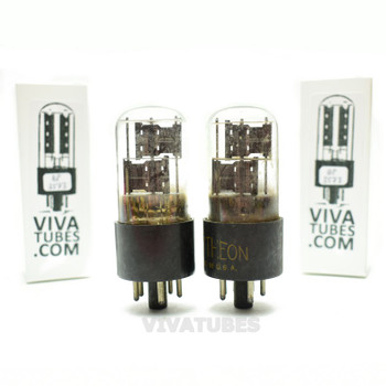 Tests NOS Matched Pair Raytheon USA 6X5GT/G Black Plate 3 Mica Tall Vacuum Tubes