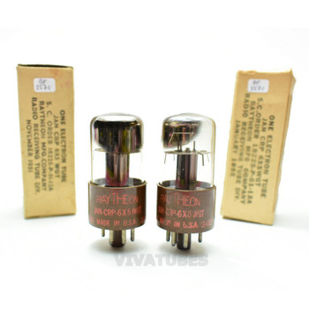 True NOS NIB Matched Pair Raytheon USA JAN-CRP-6X5WGT Brown Base Vacuum Tubes