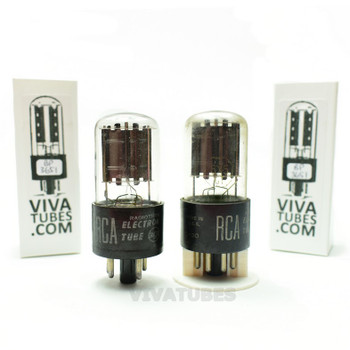 Tests NOS Matched Pair RCA 6X5GT Black Flat Plate [] Get Vacuum Tubes