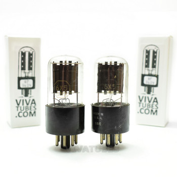 Tests NOS Matched Pair RCA 6X5GT Black Flat Plate [ ] Get Vacuum Tubes