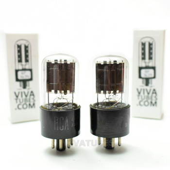 Tests NOS Date Matched Pair RCA USA 6X5GT/G Black Flat Plate [] Get Vacuum Tubes