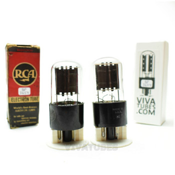Tests NOS Matched Pair RCA USA 6X5GT/G Black Flat Plate [ ] Get Vacuum Tubes