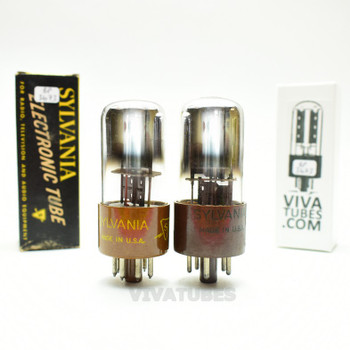 Tests NOS Matched Pair Sylvania USA 6X5WGT Black PL Top 3 Mica Brown Base Tubes